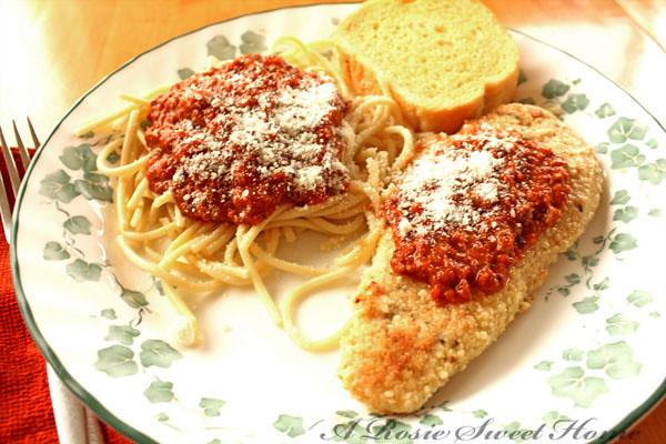 Chicken Parmesan and Linguine