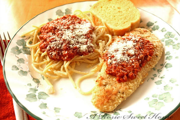 Chicken Parmesan and Linguine