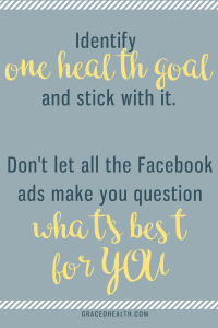 Facebook ads can cause us to question our choices.  Identify your goal and ignore the rest of your feed.