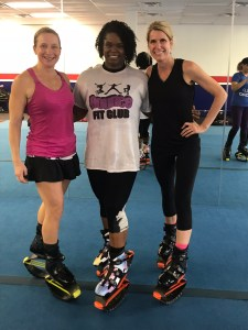 Robin at Bounce Fit Club in Kangoo boots. So fun and energetic! Amy Connell | GracedHealth.com