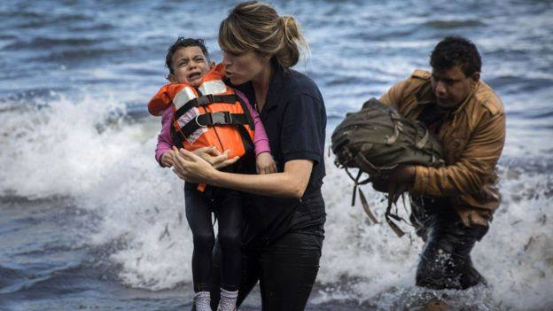 Samaritan's Purse International Relief guides Syrian families to safe refuge on the coast of Lesbos, Greece.