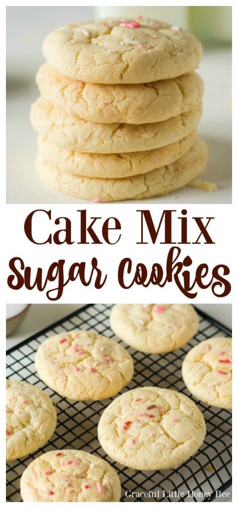 Try these super easy 3-Ingredient Cake Mix Sugar Cookies for a quick and easy dessert on gracefullittlehoneybee.com