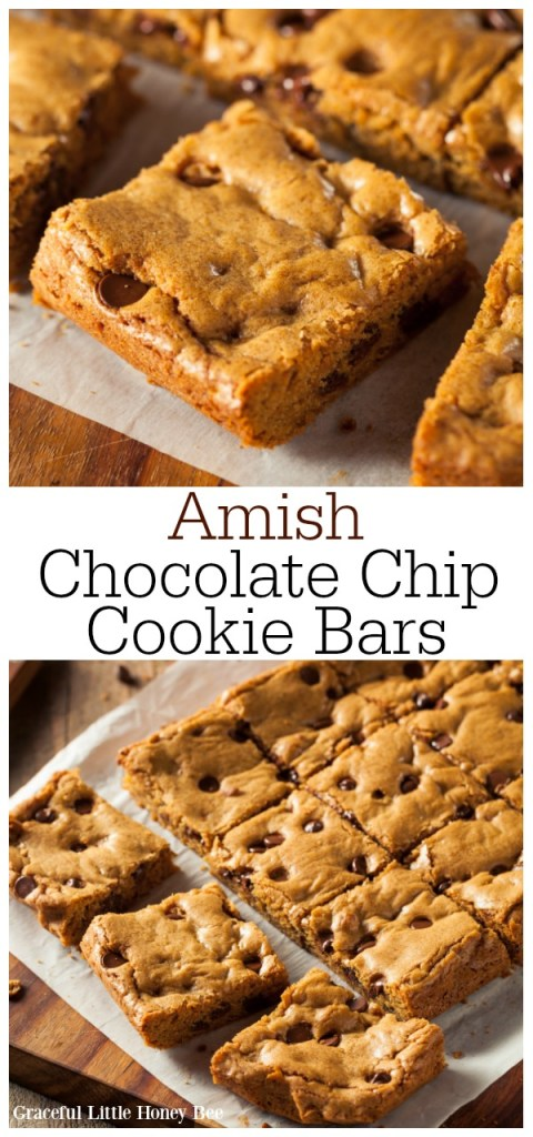These Amish Chocolate Chip Cookie Bars are super easy to make and even easier to eat. Simply bake, slice and serve them for a fun chocolate treat! Find the recipe at gracefullittlehoneybee.com