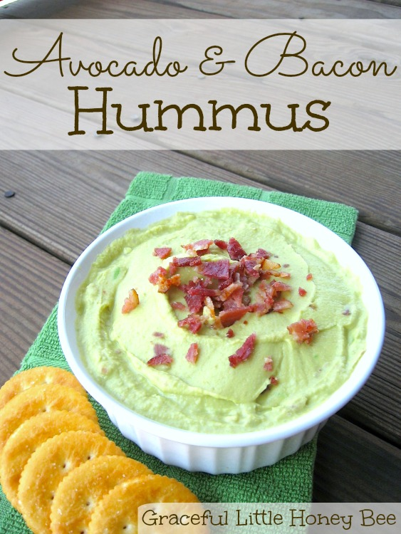 This avocado and bacon hummus is full of creamy, healthy flavor! #PutItOnARitz #ad