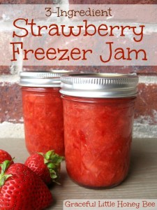 No-Cook 3-Ingredient Strawberry Freezer Jam on gracefullittlehoneybee.com