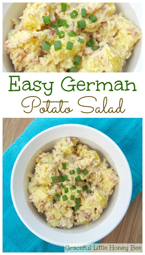 Easy and delicious German Potato Salad recipe on gracefullittlehoneybee.com