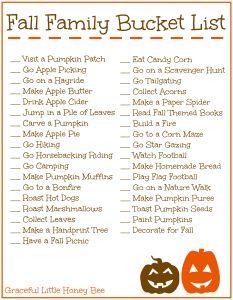 Fall Family Bucket List Printable