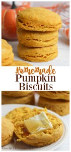 Try these super delicious Homemade Pumpkin Biscuits for a fun fall treat or side dish that goes great with any weeknight meal!