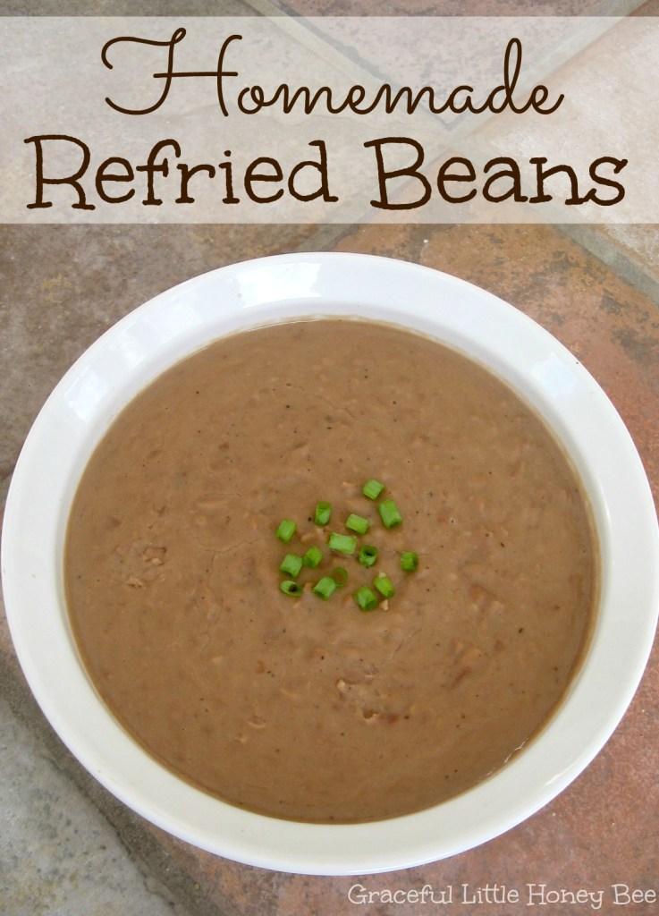 See how to make homemade refried beans on gracefullittlehoneybee.com