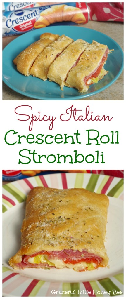 Spicy Italian Crescent Roll Stromboli Collage