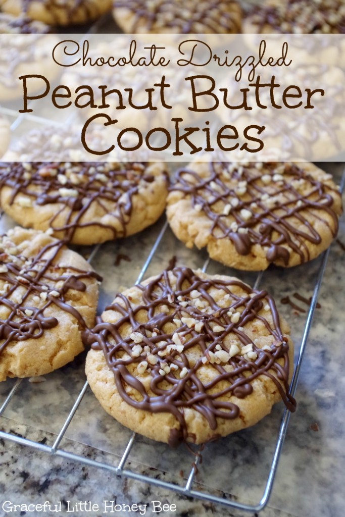 See how to make these Chocolate Drizzled Peanut Butter Cookies on gracefullittlehoneybee.com #ad #bakingwithbetty