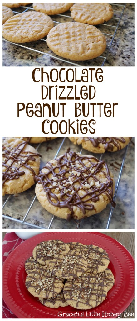 See how easy it is to make these Chocolate Drizzled Peanut Butter Cookies on gracefullittlhoneybee.com #ad #bakingwithbetty