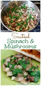 See how to make this quick and healthy side dish Sautéed Spinach and Mushrooms on gracefullittlehoneybee.com