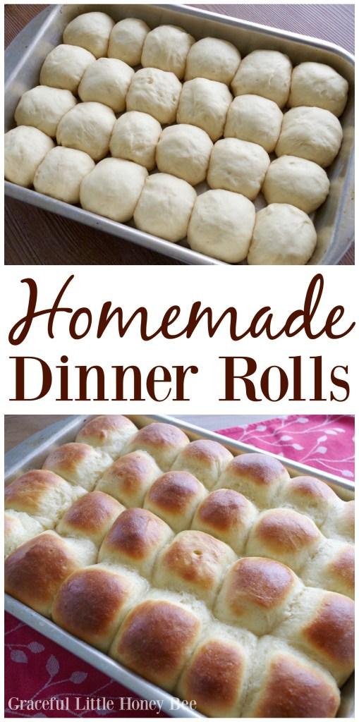 See how easy it really is to make homemade dinner rolls on gracefullittlehoneybee.com