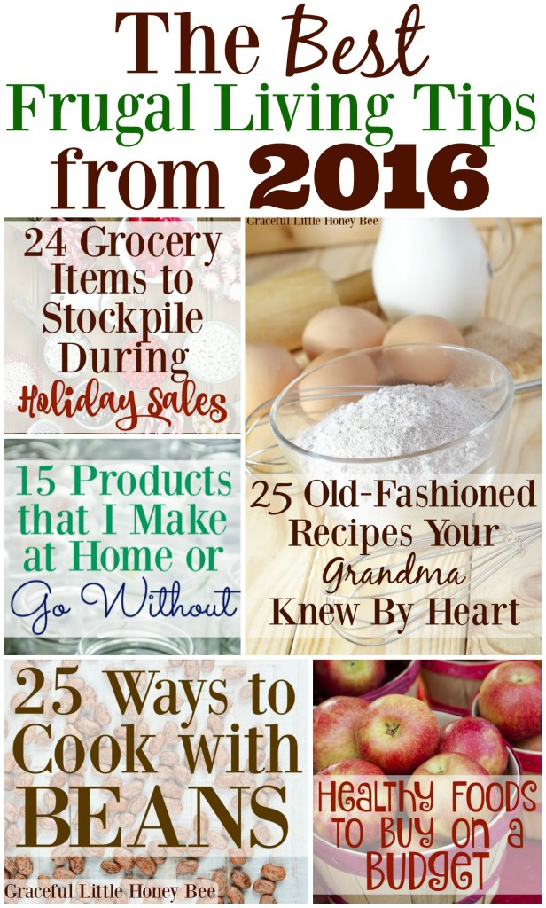 Check out the BEST frugal living tips from 2016 on gracefullittlehoneybee.com