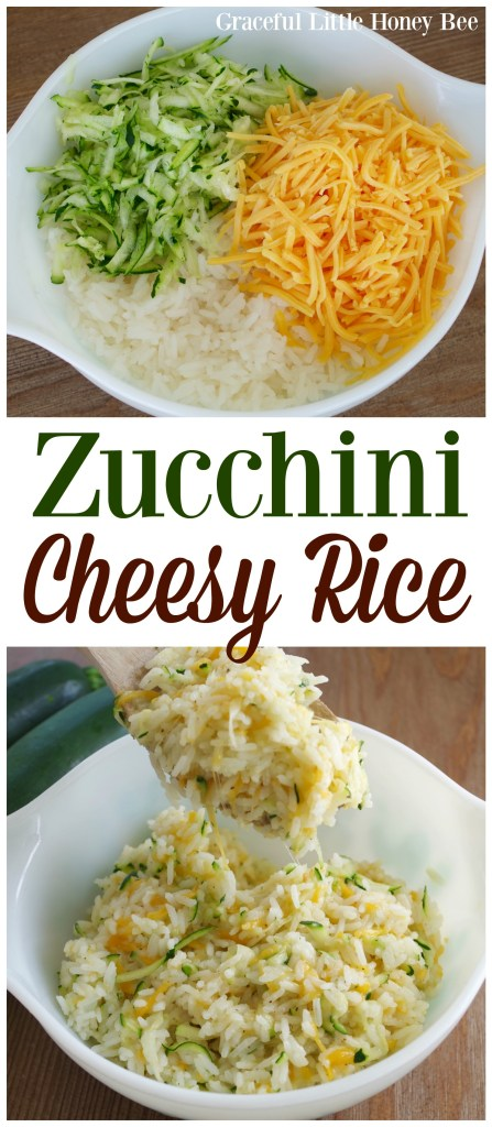 See how easy it is to make this zucchini cheesy rice for a fun side dish on gracefullittlehoneybee.com