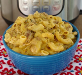 Hamburger Cheese Pasta in a blue bowl