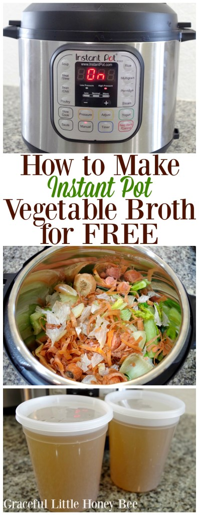 See how to make 2 quarts of delicious Vegetable Broth in your Instant Pot using kitchen scraps on gracefullittlehoneybee.com