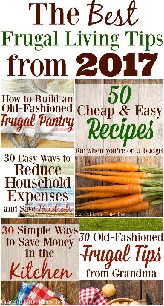 Check out the BEST frugal living tips from 2017 in this awesome round up on gracefullittlehoneybee.com
