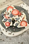 Greek Yogurt Chocolate Chip Berry Bark on a black plate.