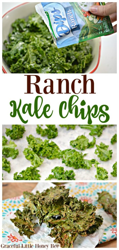 Try these super easy Ranch Kale Chips for a quick and healthy snack idea on gracefullittlehoneybee.com
