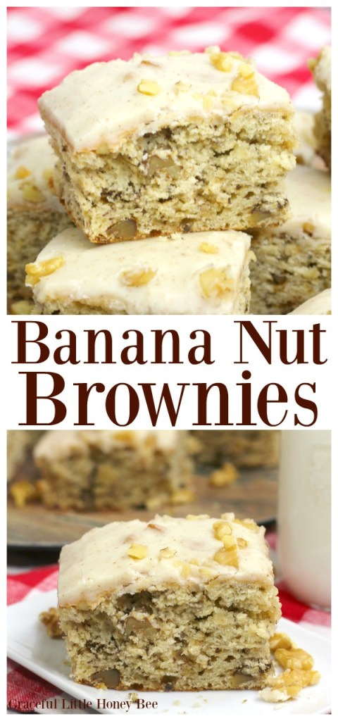 For a quick and easy dessert, try these delcious Banana Nut Brownies on gracefullittlehoneybee.com