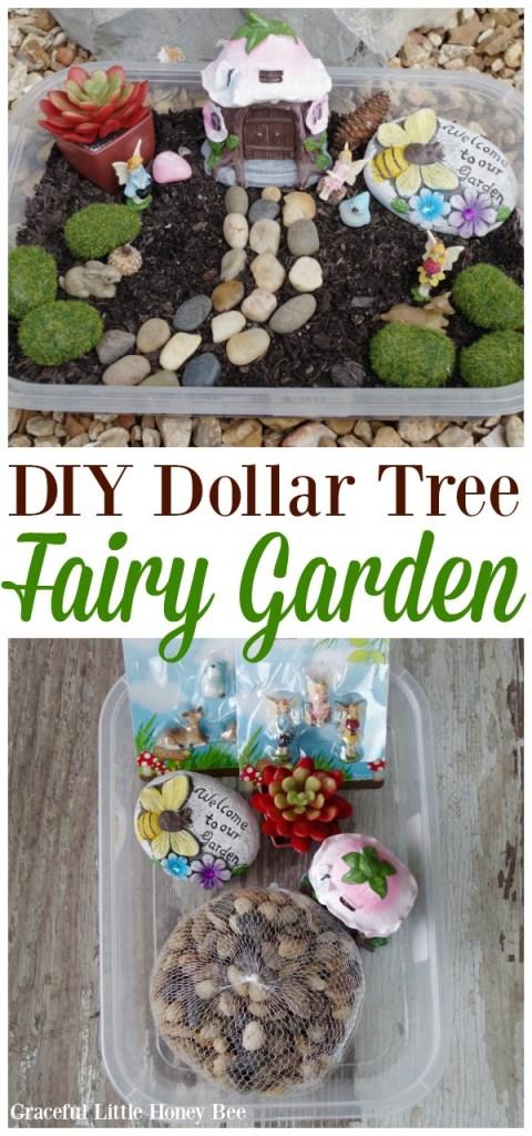 Learn how to make this easy DIY Dollar Tree Fairy Garden on gracefullittlehoneybee.com