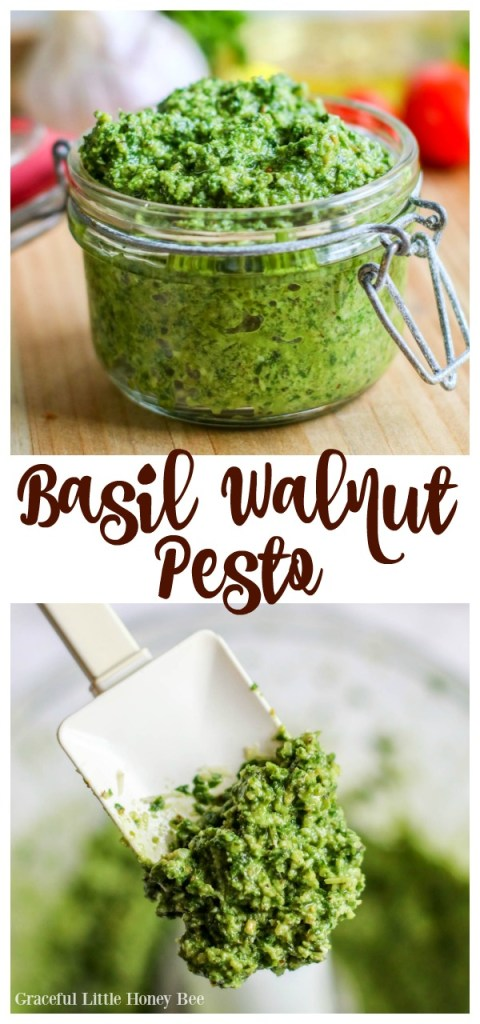 Try this quick and healthy Basil Walnut Pesto as a garnish for chicken or as a sauce for pasta.