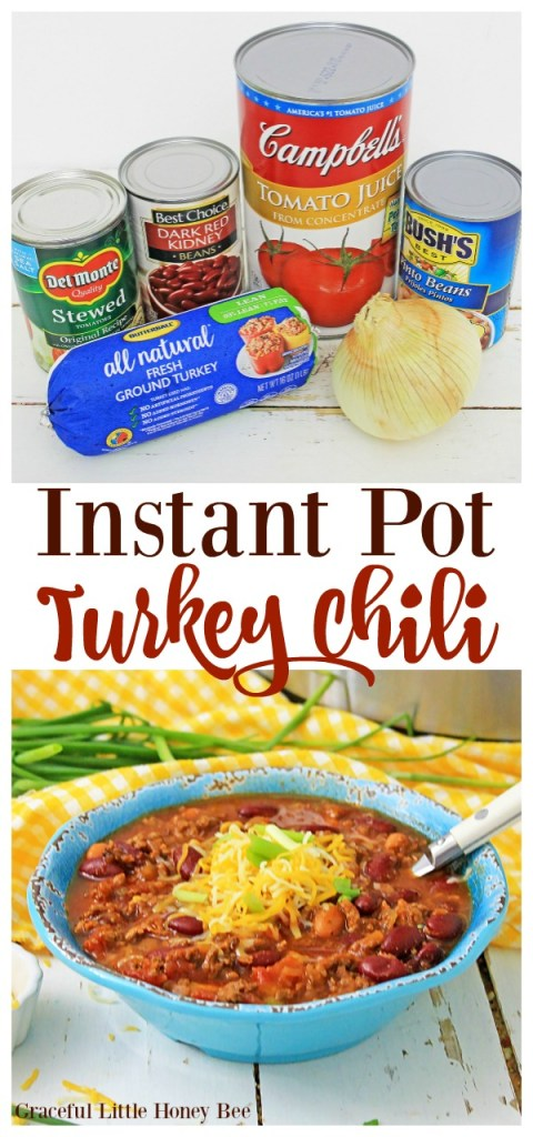 Nothings says healthy comfort food like this Instant Pot Turkey Chili from gracefullittlehoneybee.com
