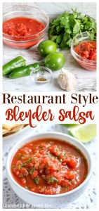 This Blender Salsa made restaurant style is incredibley fresh tasting and comes together in only 5-minutes! Visit gracefullittlehoneybee.com for the recipe.