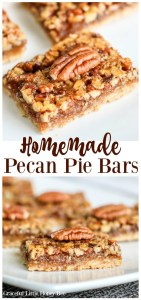 Try these super delicious Homemade Pecan Pie Bars made with an easy shortbread crust and a quick pecan pie topping for a fun fall dessert on gracefullittlehoneybee.com