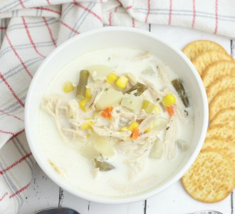 This Slow Cooker Chicken Pot Pie Soup has all of the comforting flavors of the traditional dish that you love without the work! Find the recipe at gracefullittlehoneybee.com