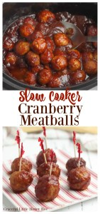 These Slow Cooker Cranberry Meatballs are easy to make and are great for serving at your next Christmas party or holiday event! Find the recipe at gracefullittlehoneybee.com