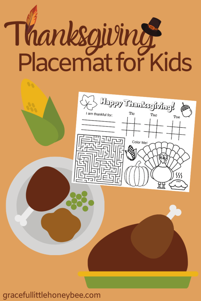 Keep the little ones entertained this holiday with a FREE Printable Thanksgiving Placemat for kids! Get it at gracefullittlehoneybee.com