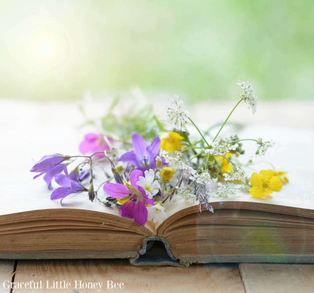 Flowers over an open book.