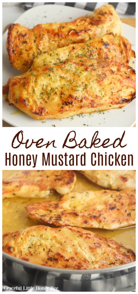 Oven Baked Honey Mustard Chicken on a white plate.