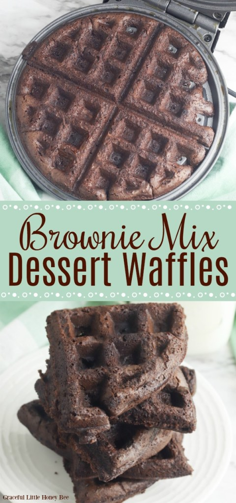 Finished brownies mix waffles on a white plate.