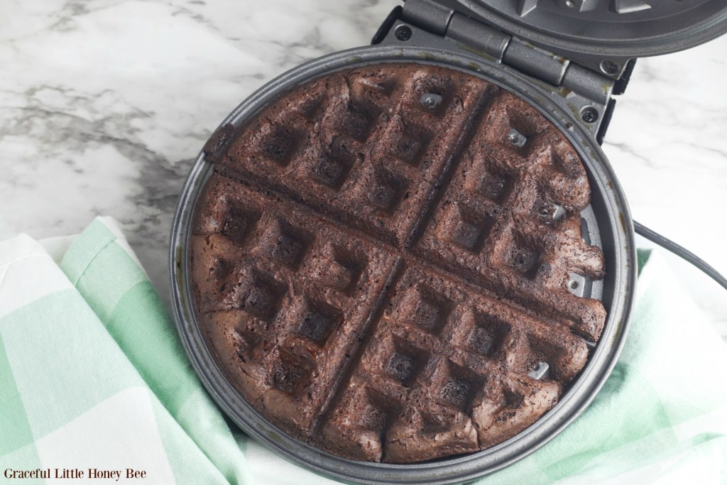 Finished brownie in the waffle maker.