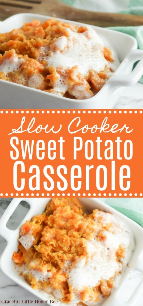 A photo collage including two shots of the sweet potato casserole in a white baking dish.
