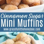 Donut Hole Muffins piled together in a square white bowl.