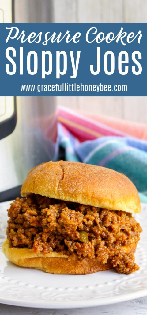 Sloppy Joes served on hamburger bun on a white plate with Instant Pot in the background.