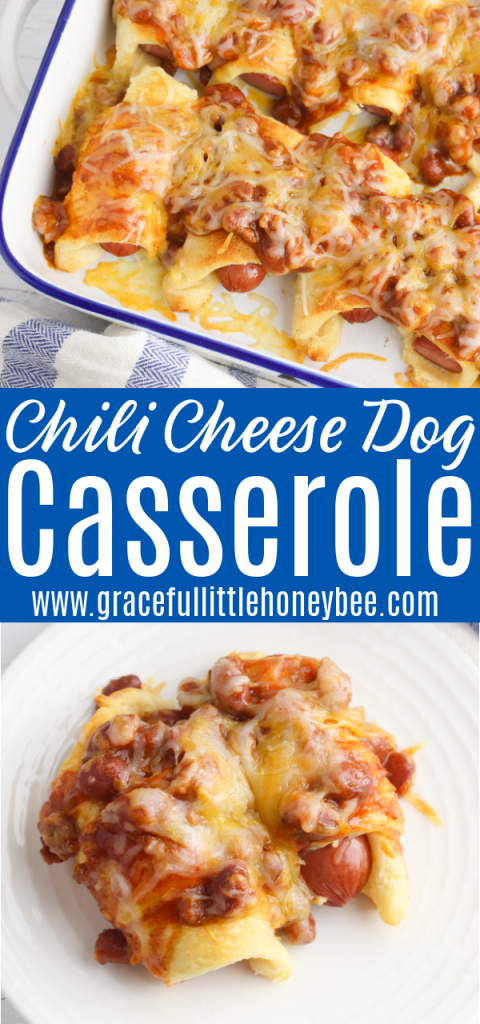 Chili Cheese Dog Casserole in a white casserole dish and a serving of the casserole on a white plate.