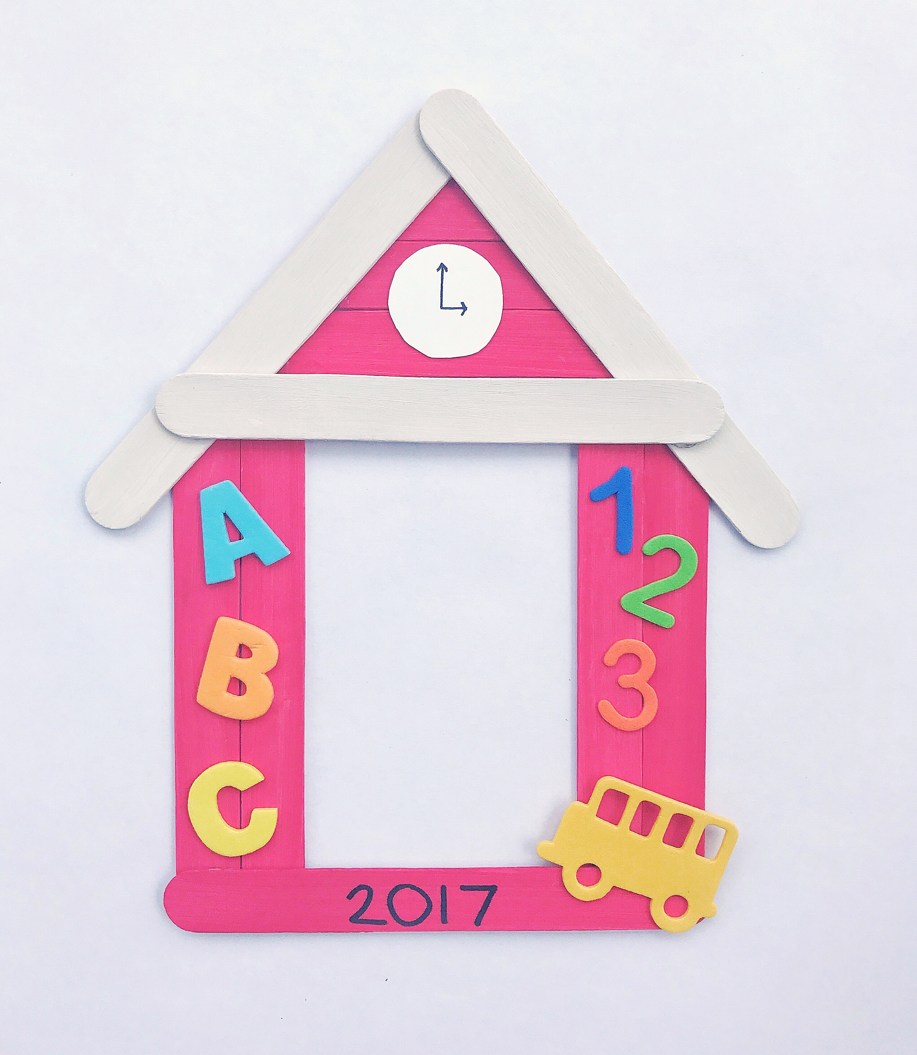 Popsicle Stick Schoolhouse Picture Frame Craft