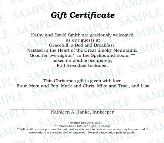 Gift Certificates Gracehill Bed And Breakfast