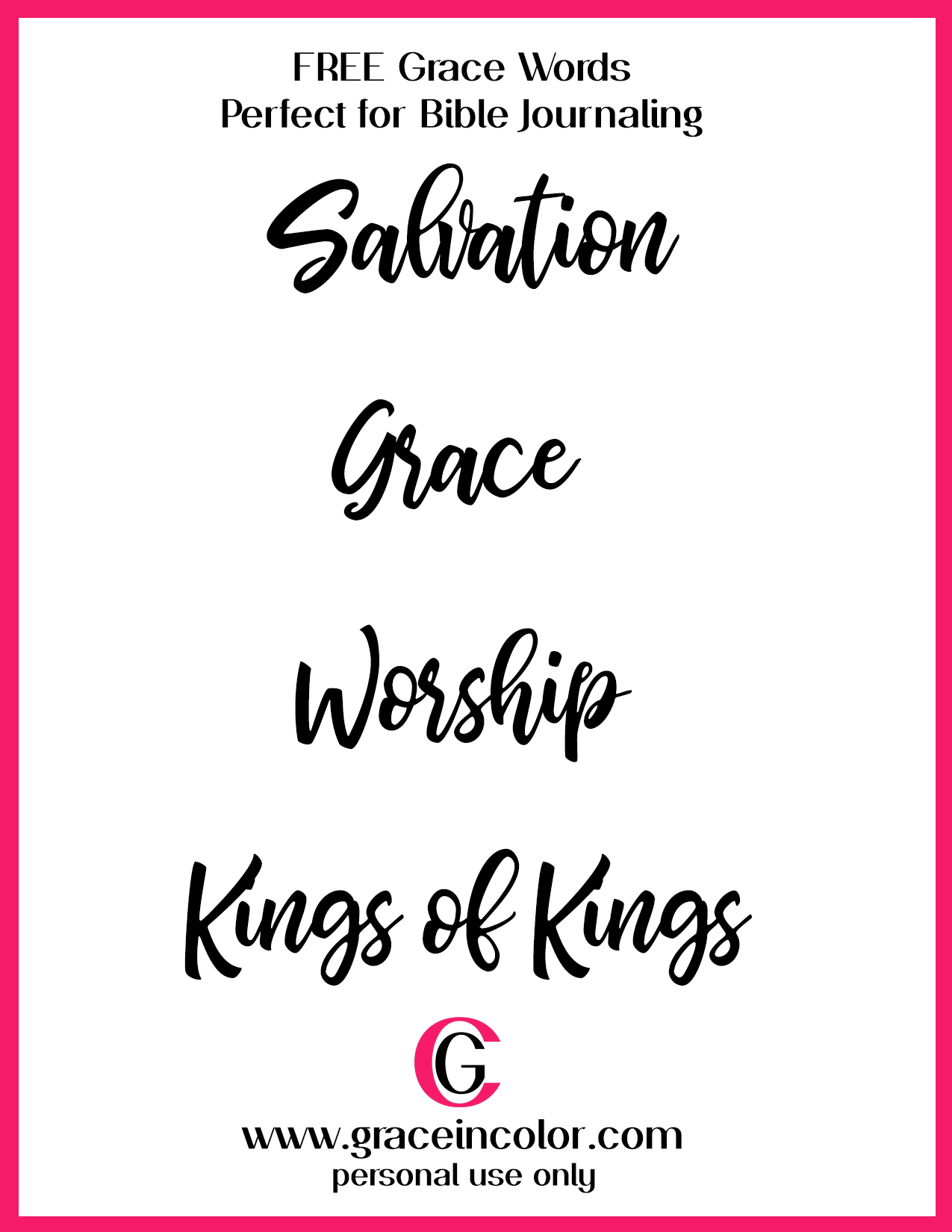 photo relating to Free Printable Scripture Word Art identified as Free of charge - Grace within just Colour