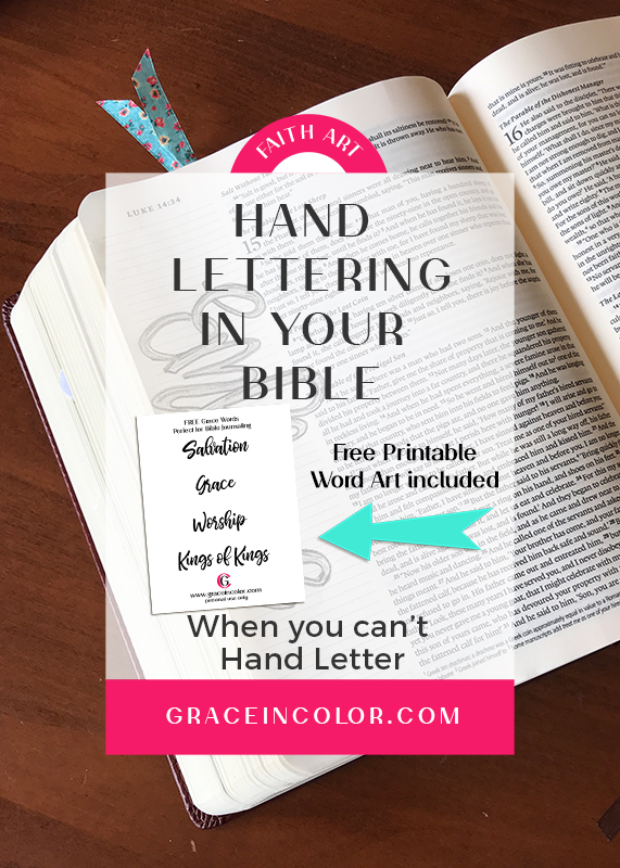 Hand Lettering in your Bible when you can't Hand Letter, FREEBIE included
