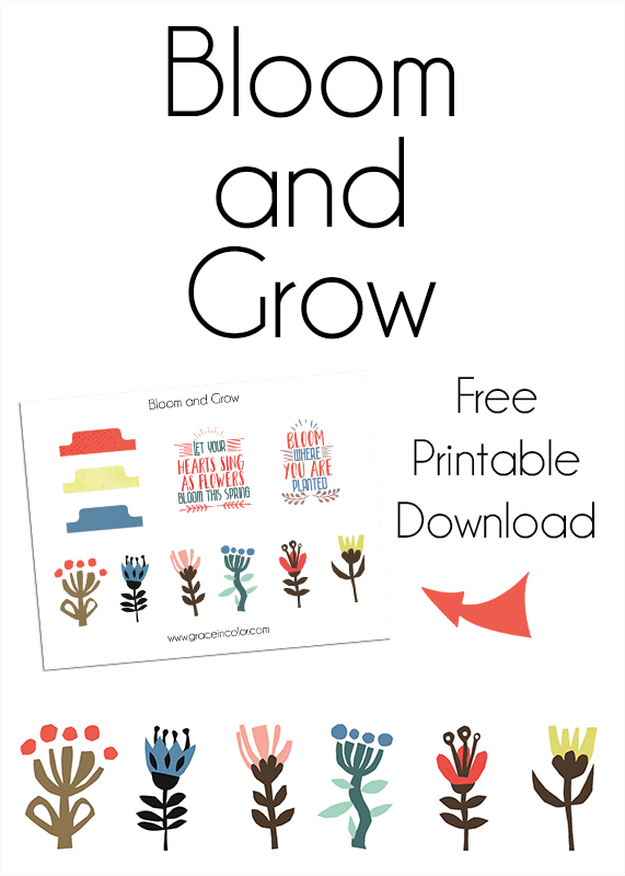 Bloom and Grow: Free Printable kit, Grace in Color, The Lilypad