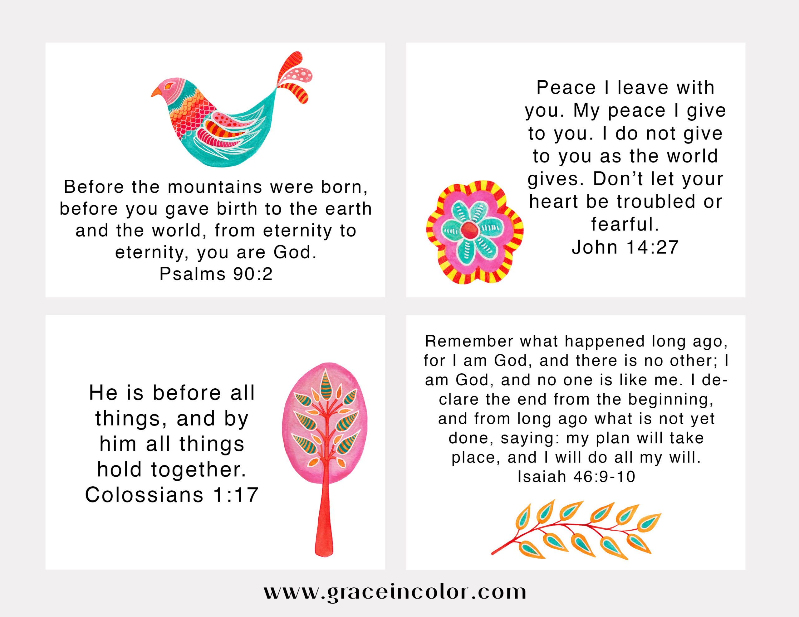 Free Peace Scripture Cards from Grace in Color
