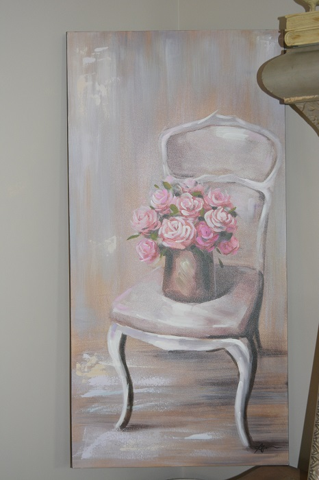 shabby chic chair wrought iron and glass dining table chairs french painting, painting with roses,