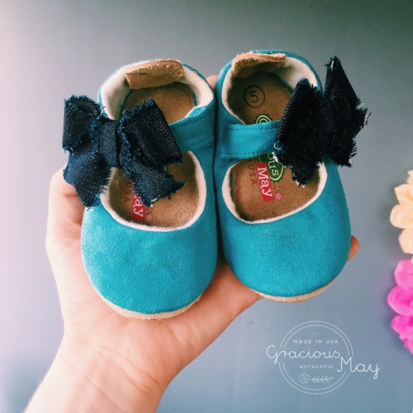 Blue Suede and Denim Made in USA Baby and TOddler Shoes